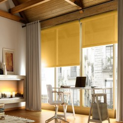Cortina Enrollable Lavable Amarillo Oscuro
