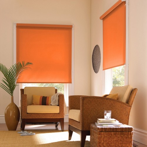 Cortina Enrollable Lavable Naranja